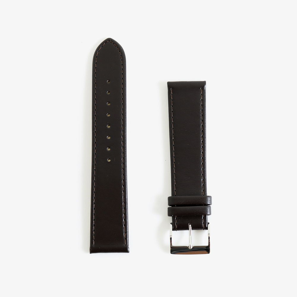 max bill Leather band 20mm - Dark brown|JUNGHANS