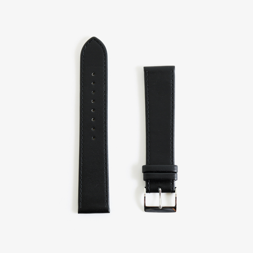 max bill Leather band 20mm - Black|JUNGHANS
