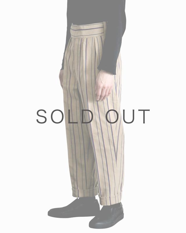 Cotton Linen Alternate Stripe|BELTLESS – Beige|NEAT