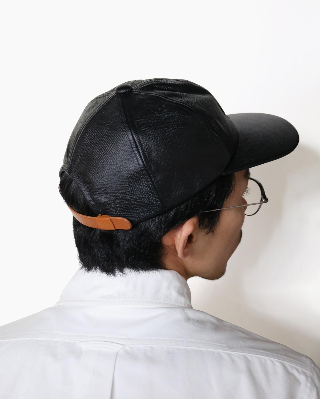 COW LEATHER CAP - Black|COMESANDGOES