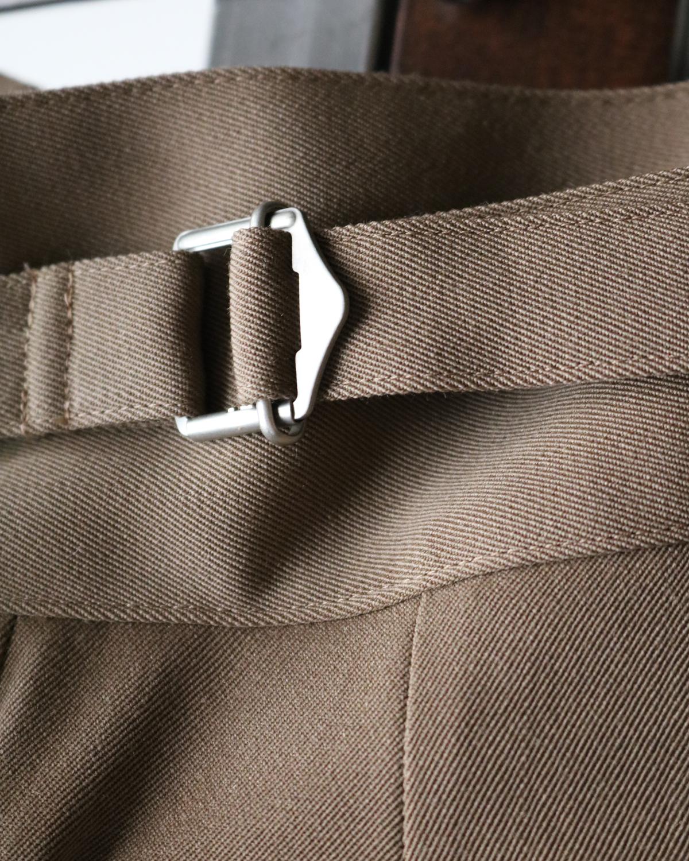 Wool High Density Gabardine|BELTLESS - Camel|NEAT