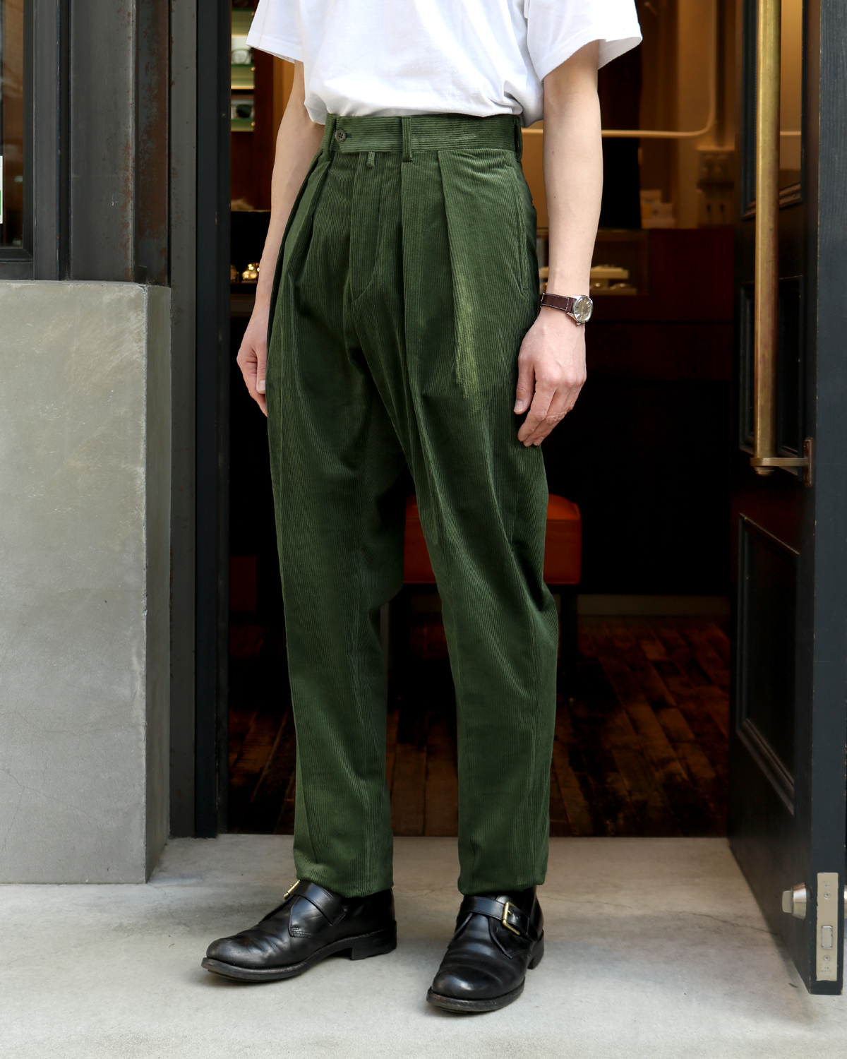 FRENCH CORDUROY|TAPERED - Green|NEAT