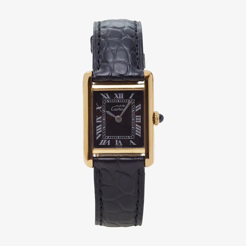 Cartier|must de Cartier TANK SM|Black Roman Dial – 90's|VINTAGE Cartier