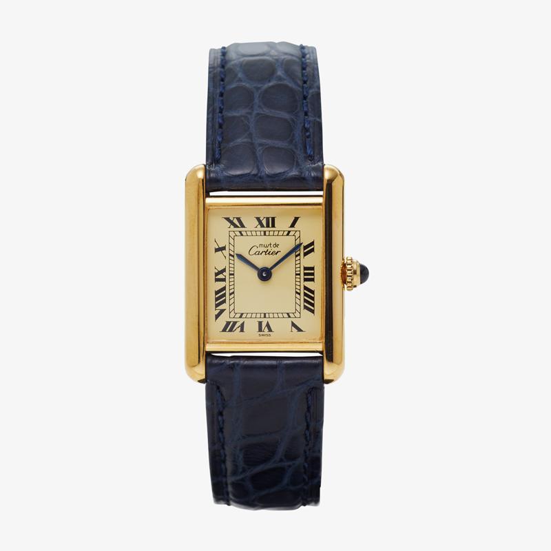 Cartier|must de Cartier TANK SM|Ivory Roman <Navy Belt> – 90's|VINTAGE Cartier