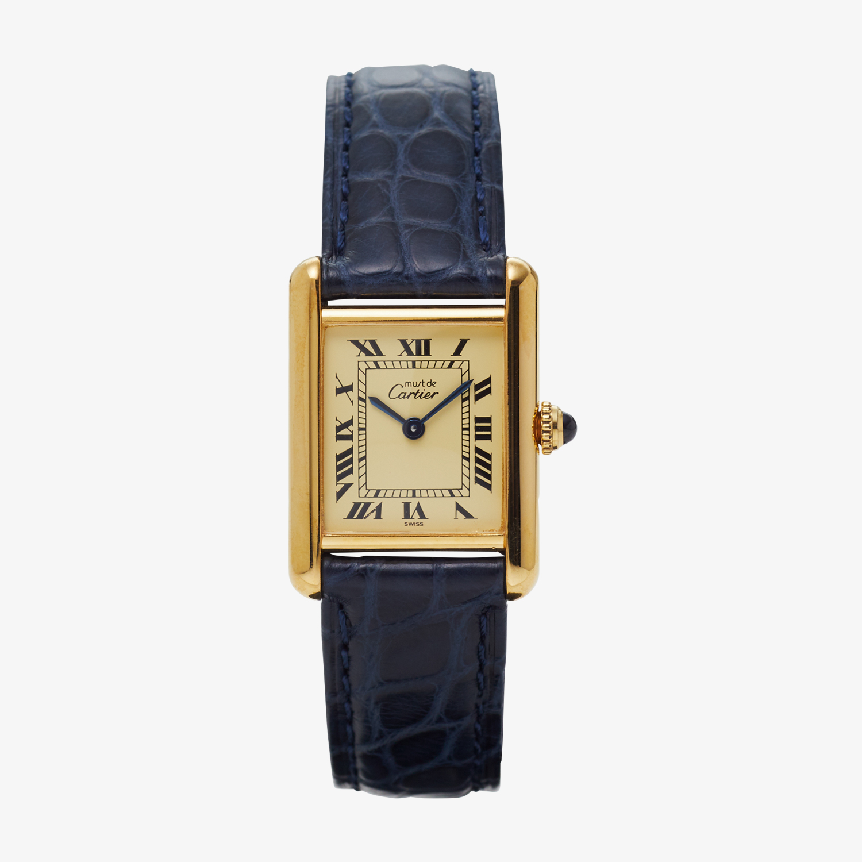 SOLD OUT Cartier must de Cartier TANK SM Ivory Roman <Navy Belt> - 90's VINTAGE Cartier