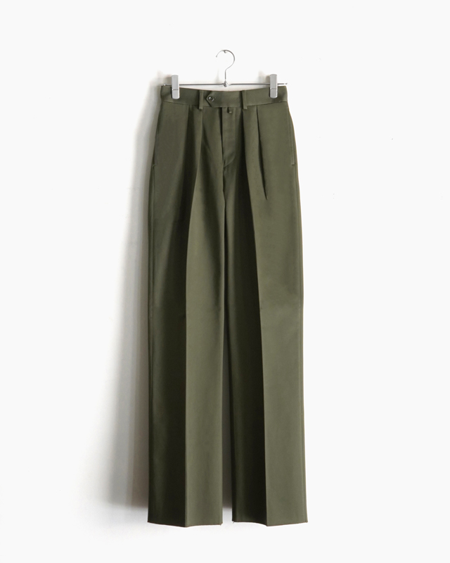 COTTON SATIN │WIDE – OLIVE NEAT