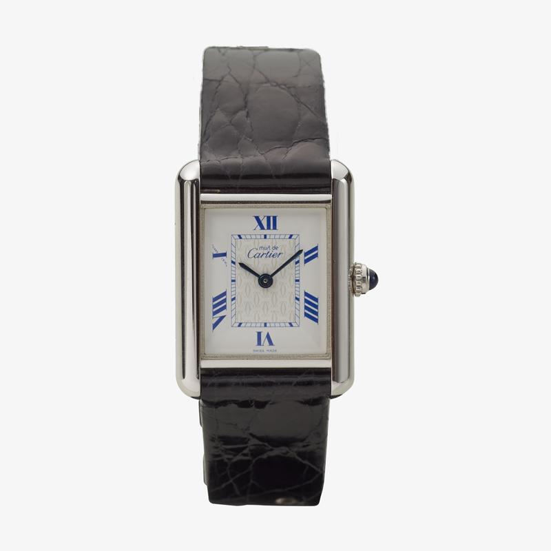 Cartier|must de Cartier TANK MM|Six Point Roman Dial <Blue>|Silver / White – 90's|VINTAGE Cartier