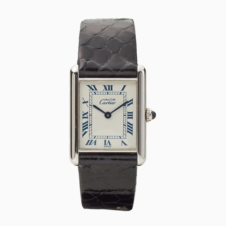 Cartier|must de Cartier TANK LM|<Blue> Roman Dial|White / Silver – 90's|VINTAGE Cartier